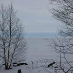 Whitefish Bay/Lake Superior View from Room in April 2014.