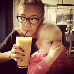 Enjoying a frappe and a fluffy