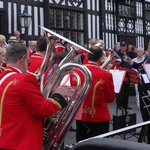 Foden's Band perform outside the Old Hall Hotel during the annual Sandbach Transport Festival