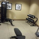 Decent fitness room. with REAL gym equipments. Dumbells go up to 50 lbs