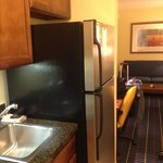 Kitchenette with fridge but no kettle