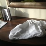 dirty pillow left in the room table  !!!!