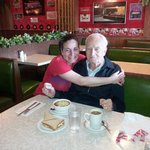 A loyal customer for many decades, Roy, a WWII veteran is pictured here with waitress Marcia.