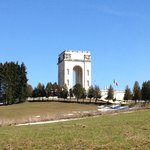 WWI monument, hiking trails start here