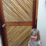 Beautiful bathroom door (cute kid).