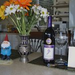 our little kitchen, Norman, our gnome, loved it there