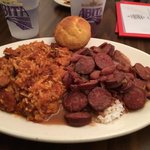 Jambalaya and red beans and rice.