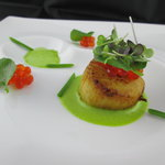 Scallop ~ Watercress, Sea Beans and Salmon Roe