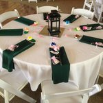 Green Table with the washed tablecloth