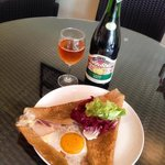 Buckwheat galette stuffed with ham, cheese & egg, french cider