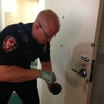 Durham PD Dusting the Door for Fingerprints