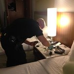 Durham PD inspecting the room