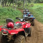 ATVs lined up at one of our stops