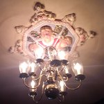 One of the ornate Chandeliers in the Dining area