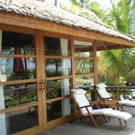 Each bungalow has a deck with lounge chairs that looks over the ocean