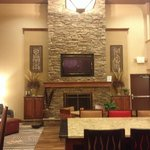Stone fireplace in lobby