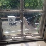 Broken pane in 'secondary glazing' which was screwed over filthy windows in a failed attempt to