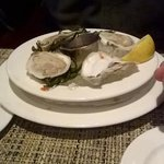 oysters, no cocktail sauce or horseradish, yucky lemon wedge