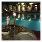 dinner at the pool