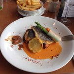 Sea bass red pepper sauce and veg