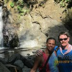 Husband and I breathing in the peace of the Rainforest & Waterfall - ahhh!