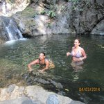 My friend and I wading through that amazing natural waterfall - sooo refreshing!