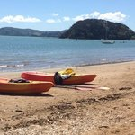 The beach opposite the resort.  We hired the resort kayaks. Very affordable when down the road i