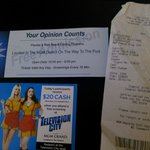 the ticket, the $20 ad thingy, and the receipt from the CBS store..