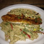 Pan Seared Grouper with Side of Pasta with Cream Sauce