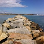 Looking back across the breakwater