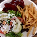 Quarter chicken salad and fries 10.00