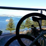 view of Boston Bay from balcony & through my bicycle