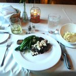 Steak with blue cheese crumbles, broccolini, mashed potatoes