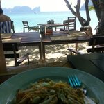 Pad Thai from the restaurant whilst looking out to Phi Phi Ley.