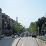 view down the road, Washington monument and White House