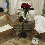 Table, bed, our lovely roses, robe & slippers