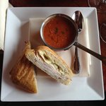 Free Range Turkey and Brie with Tomato Gorgonzola soup