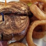 Reuben and onion rings. Great portions.