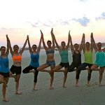 Tree pose at sunset with Varja Sol Yoga Adventures
