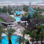 View from Top Floor overlooking Bar / dining area & larger water park