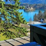View of the lake and Bled Island from our room balcony