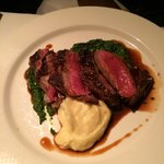 Ribeye with mashed potatoes and puréed spinach