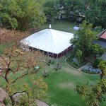 Hotel's grounds with a large tent for special events
