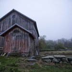View of a barn on the B&B premises during a foggy morning.
