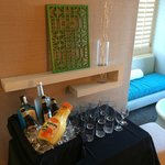Pre-gaming in room! Nice set up from W Room Service Team even though we paid extra for the glass