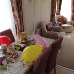The inside of the caravan, decorated for son's Birthday.