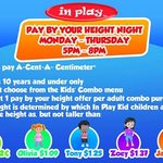 Kids Pay by Height Nights at In Play!