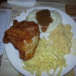 Broasted Chicken, Mashed potatoes & gravy, Noodles & Mac & Cheese