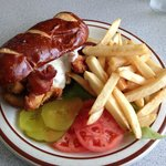 Chicken Tenders, Melted Provolone & Bacon on a Pretzel Roll - what more can I say???
