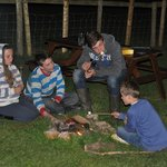 Late night marshmallows - fire pit outside tent